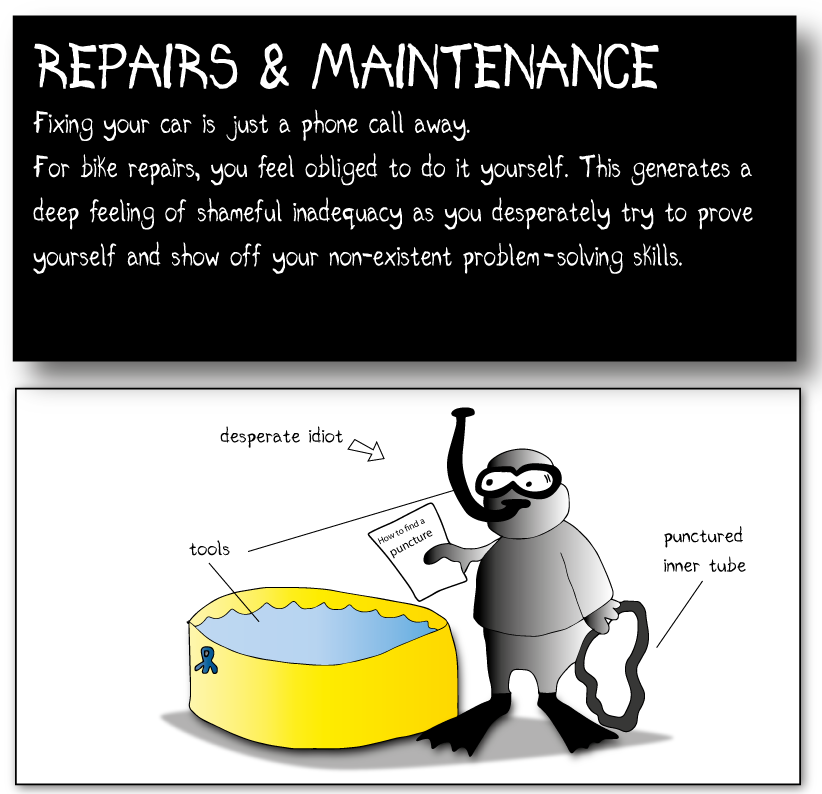 REPAIR & MAINTENANCE Fixing your car is a just a phone call away. For bike repairs, you feel obliged to do it yourself. This generates a deep feeling of your shameful inadequacy as you desperately try to prove your manhood and show off your non-existent problem solving skills. ( man in skuba outfit going into a barrel of water with a rubber tubing and some band aids